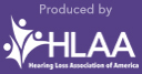 Hearing Loss Association of America logo with white letters and purple background