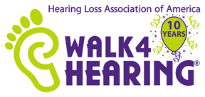 10th anniversary Walk4Hearing Logo