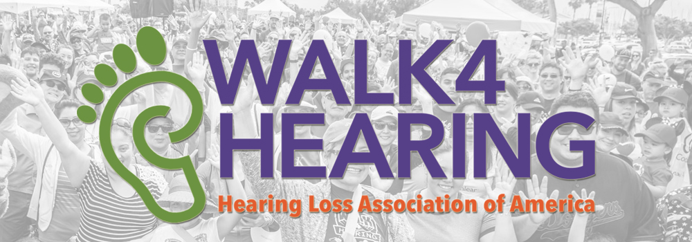 Walk4Hearing logo with crowd as the background